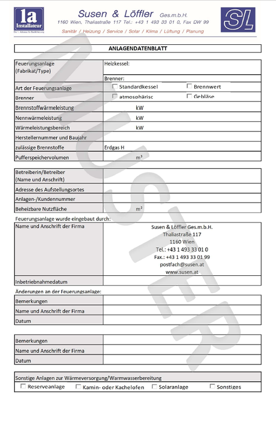 Anlagendatenblatt